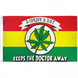 A Spliff A Day Keeps The Doctor Away 3' x 5' Polyester Flag