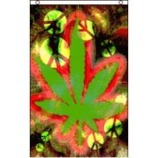 MARIJUANA LEAF TIE DYE WITH PEACE SIGNS 3' X 5' FLAG