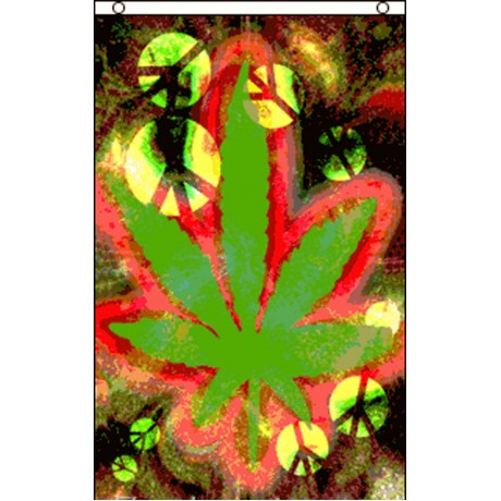 Marijuana Leaf Tie Dye 3' x 5' Polyester Flag
