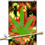 Marijuana Leaf Tie Dye 3' x 5' Polyester Flag, Pole and Mount