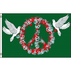 Peace And Love Peace Sign And Doves 3' x 5' Flag