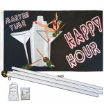Happy Hour 3' x 5' Polyester Flag, Pole and Mount