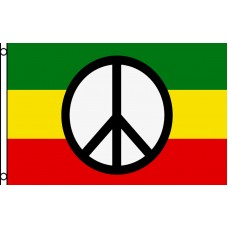 PEACE SIGN ON RASTA FLAG POLY 3' X 5' FLAG