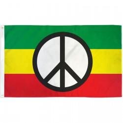PEACE SIGN ON RASTA FLAG POLY 3' X 5' FLAG