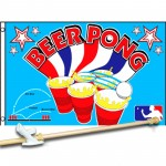 BEER PONG 3' x 5'  Flag, Pole And Mount.