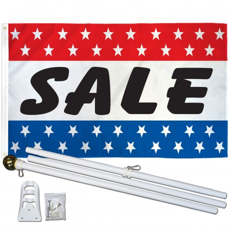 Sale Patriotic Stars 3' x 5' Polyester Flag, Pole and Mount