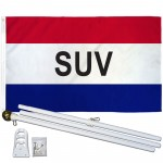 SUV Patriotic 3' x 5' Polyester Flag, Pole and Mount
