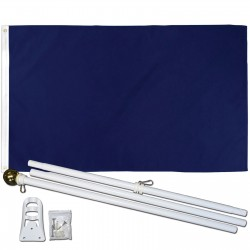 Solid Navy Blue 3' x 5' Polyester Flag, Pole and Mount