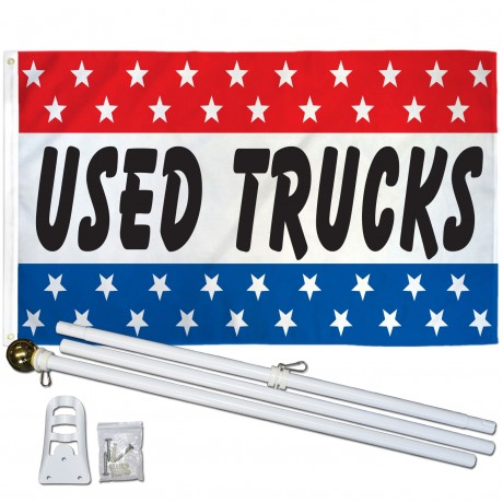 Used Trucks Patriotic Stars 3' x 5' Polyester Flag, Pole and Mount