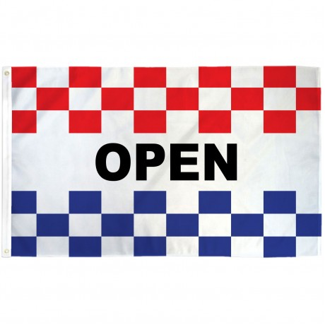 Open Patriotic Checkered 3' x 5' Polyester Flag