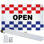 Open Patriotic Checkered 3' x 5' Polyester Flag, Pole and Mount