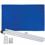 Solid Royal Blue 3' x 5' Polyester Flag, Pole and Mount