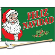 Feliz Navidad Green 3' x 5'  Flag, Pole And Mount