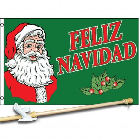 Feliz Navidad Green 3' x 5'  Flag, Pole And Mount