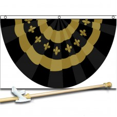 Fleur De Lis Bunting Shaped 3' x 5' Polyester Flag, Pole and Mount