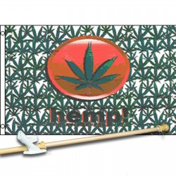Hemp Marijuana 3' x 5' Polyester Flag, Pole and Mount