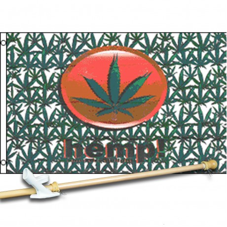 Hemp Marijuana 3' x 5' Polyester Flag, Pole and Mount