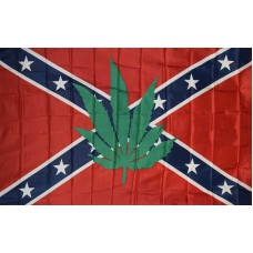 REBEL BATTLE MARIJUNA LEAF POLY 3' X 5' FLAG