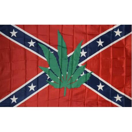 Rebel Battle Marijuana Leaf 3' x 5' Polyester Flag