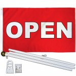 Open Red White Block Letters 3' x 5' Polyester Flag, Pole and Mount