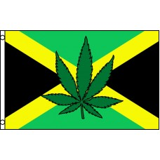 JAMAICA COUNTRY & MARIJUANA LEAF POLY 3' X 5' FLAG