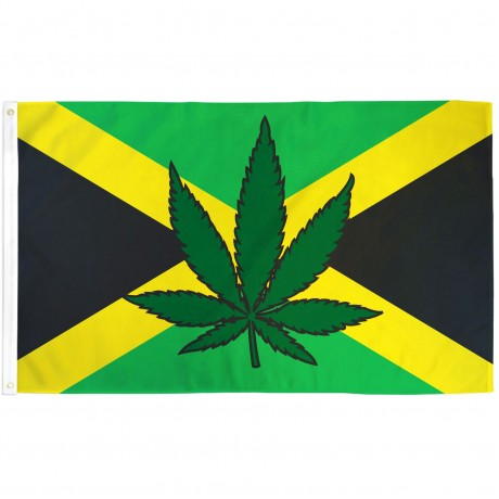 Jamaica Country Marijuana Leaf 3' x 5' Polyester Flag