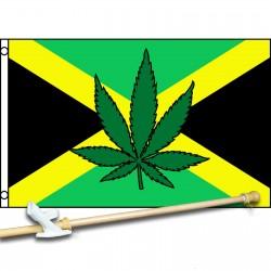 Jamaica Country Marijuana Leaf 3' x 5' Polyester Flag, Pole and Mount