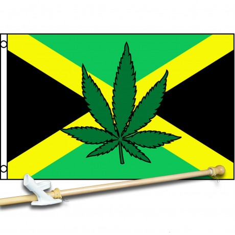 Jamaica Country Marijuana Leaf 3' x 5' Polyester Flag, Pole and Mount