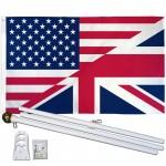 USA United Kingdom Friendship 3' x 5' Polyester Flag, Pole and Mount