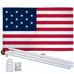 USA Historical 15 Star 3' x 5' Polyester Flag, Pole and Mount