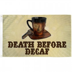 Death Before Decaf Clockwork 3' x 5' Polyester Flag