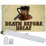 Death Before Decaf Clockwork 3' x 5' Polyester Flag, Pole and Mount