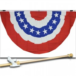 USA BUNTING 5' x 3'  Flag, Pole And Mount.