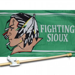 Fighting Sioux 3' x 5'  Flag, Pole And Mount