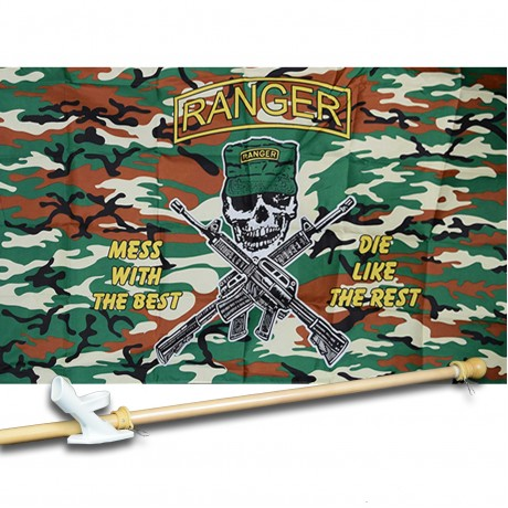 RANGER CAMO 3' x 5'  Flag, Pole And Mount.