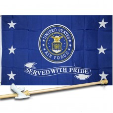 AIR  FORCE SERVED  3' x 5'  Flag, Pole And Mount.