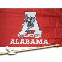 ALABAMA CRIMSON TIDE 3' x 5'  Flag, Pole And Mount.