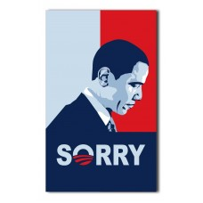 OBAMA SORRY RED/ BLUE VERTICAL 3X5 CUSTOM FLAG