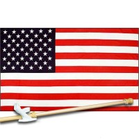USA NYLON 3' x 5'  Flag, Pole And Mount.