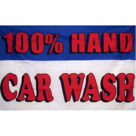 100% Hand Car Wash 3'x 5' Advertising Flag