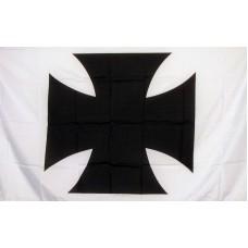 Maltese Cross White with Black Cross 3'x 5' Flag