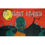 Me Want Brains Zombie 3' x 5' Polyester Flag
