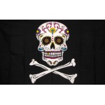 Sugar Skull and Crossbones 3' x 5' Polyester Flag