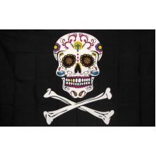 Pirate Sugar Skull Yellow & Purple 3'x 5' Flag