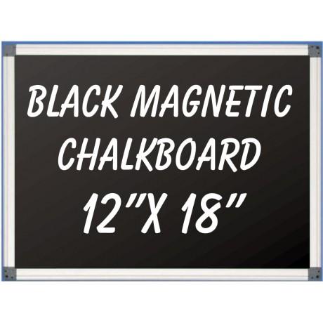 """12"""" x 18"""" Aluminum Framed Magnetic Black Chalkboard"""