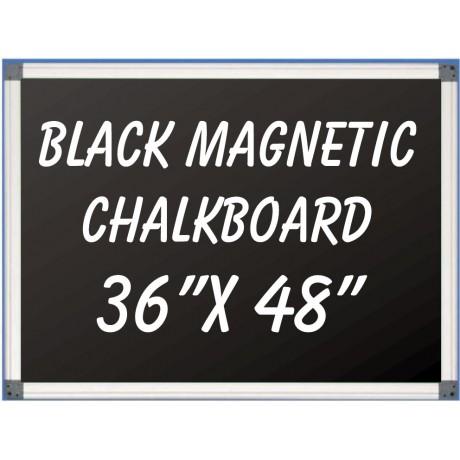 """36"""" x 48"""" Aluminum Framed Magnetic Black Chalkboard"""