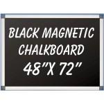 """48"""" x 72"""" Aluminum Framed Magnetic Black Chalkboard"""