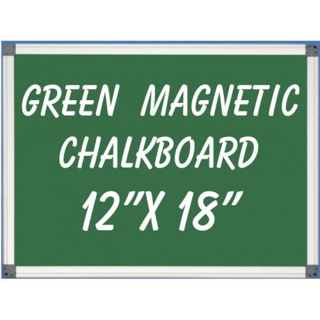 """12"""" x 18"""" Aluminum Framed Magnetic Green Chalkboard"""
