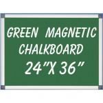 """24"""" x 36"""" Aluminum Framed Magnetic Green Chalkboard"""