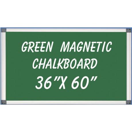 """36"""" x 60"""" Aluminum Framed Magnetic Green Chalkboard"""